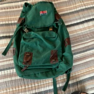 All-Son Green Backpack with Detachable Front Bag